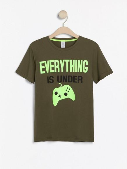 Kortermet T-skjorte med trykk Grønn