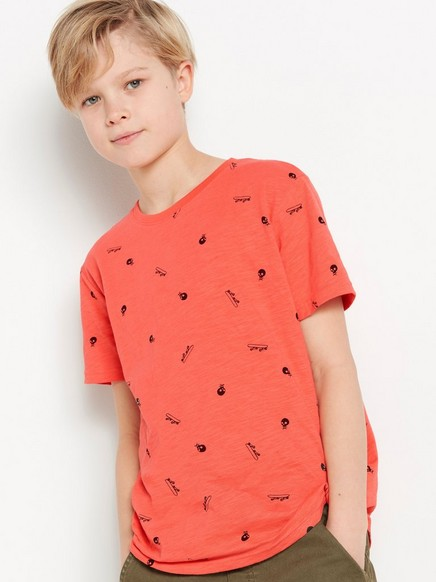 Kortermet T-skjorte av slub-jersey Oransje