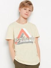 Kortermet T-skjorte av slub-jersey Beige