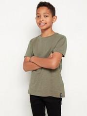 Kortermet T-skjorte i slub-jersey Kaki