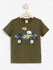 Lyhythihainen t-paita, jossa monsteriautopainatus Vihreä