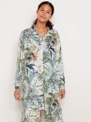 Lång mönstrad skjorta Beige