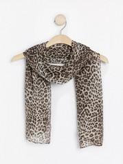 Leopardmønstret skjerf Brun