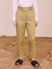 Korkeavyötäröiset, vajaamittaiset housut lyocell-sekoitetta Ruskea