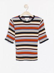 Ribbstickad randig tröja Orange