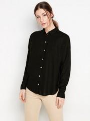 Košile ze směsi lnu Černá
