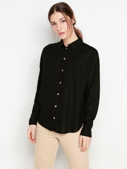 Skjorte i linblanding Svart