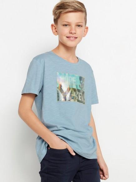 Lyseblå T-skjorte av slub-jersey med hologramapplikasjon Blå