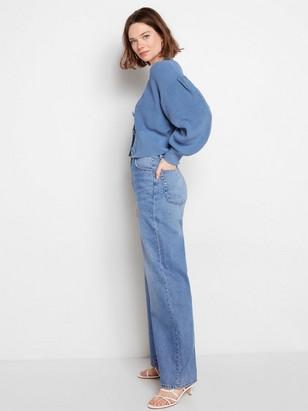 Stickad cardigan med puffärm Blå