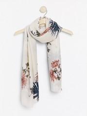 Skjerf med blomster Hvit