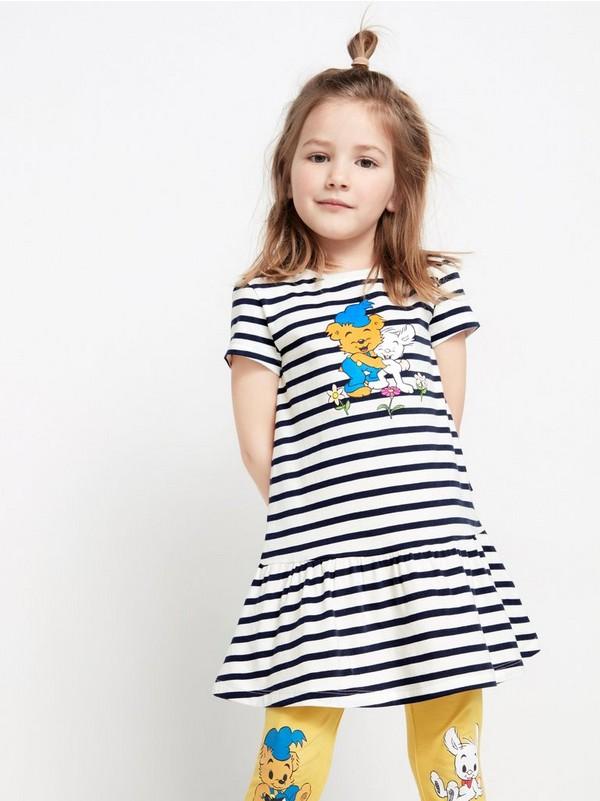Blå Mønstret, kortermet tunika med Bamse trykk | Lindex