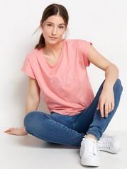 T-shirt med textprint Korall