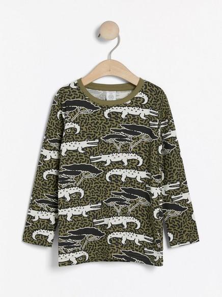 Pitkähihainen pusero, jossa krokotiilikuvio Khaki