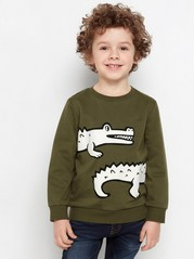 Mörkgrön sweatshirt med krokodil i pufftryck Grön