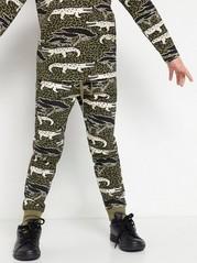 Sweatpants med krokodilmönster Khaki