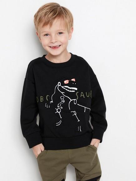 Svart genser med robotdinosaur Svart