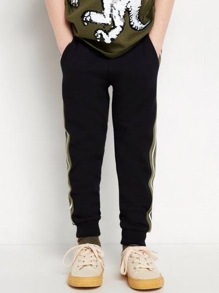 Svarta sweatpants med revär Svart