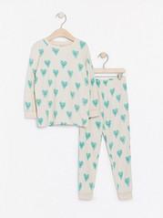Mønstret pyjamas Beige