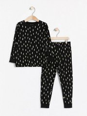 Mønstret pyjamas Svart