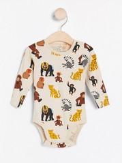Långärmad body med apor och leoparder Beige