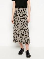 Leopardmønstret midiskjørt Brun
