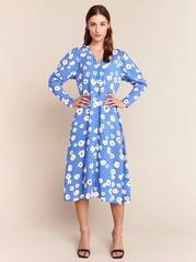 Blå midiklänning med blommor Blå