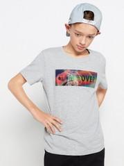 Grå T-skjorte med hologramapplikasjon Grå