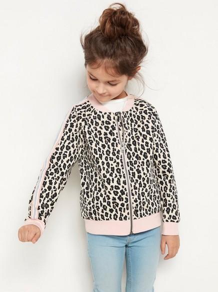 Pehmeä vaaleanpunainen bomber-takki, jossa leopardikuvio ja sivuraidat Musta