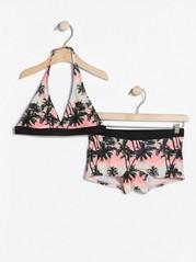 Halterneck-bikinit, joissa palmukuviointi Koralli
