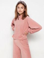 Vakosamettinen neulepusero, jossa pallohihat Vaaleanpunainen