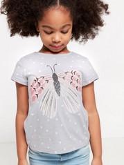 Harmaa pusero, jossa pilkkuja ja kimaltava perhospainatus Harmaa