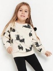 Oversize-genser med katter Beige