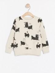 Oversize sweatshirt med katter Beige
