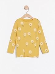 Pitkähihainen pusero, jossa päivänkakkarakuvio Keltainen
