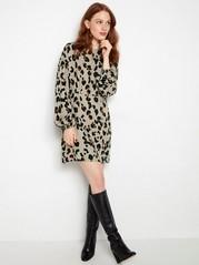 Leopardmønstret, langermet kjole Beige