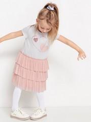 Randig trikåklänning med glittertryck och rosa tyllkjol Rosa