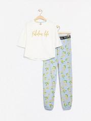Pyjamas med vit topp och byxa med citronmönster Vit