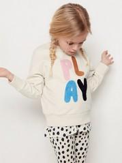 Ljusbeige sweatshirt med frottéapplikation Beige