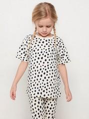 Väljä valkoinen t-paita, jossa mustia pilkkuja Beige