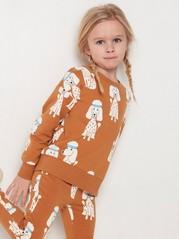 Brun sweatshirt med pudelmönster Brun