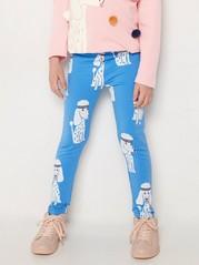 Siniset leggingsit, joissa puudelikuviointi ja harjattu sisäpuoli Sininen