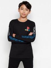 Långärmad topp med Playstation™-tryck Svart