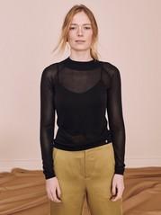 Finstickad svart tröja Svart