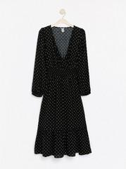 Langermet, mønstret kjole Svart