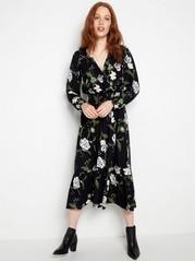 Langermet, mønstret kjole Grønn