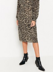 Leopardmönstrad meshkjol Beige