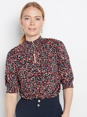 Blomsterbluse i lyocellblanding Rosa