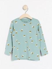 Pitkähihainen pusero, jossa mehiläiskuvio Aqua