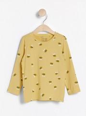 Pitkähihainen pusero, jossa mehiläiskuvio Keltainen
