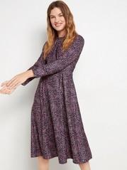 Mönstrad klänning med lång ärm Blå